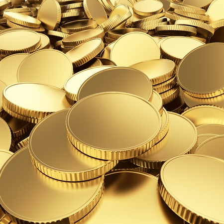 renders: Golden shining blank coins renders - 3D background Stock Photo