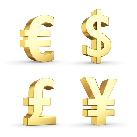 Golden currency symbols isolated on white with clipping path Фото со стока