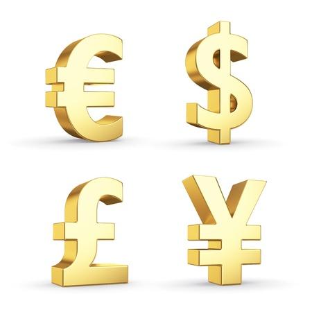 Gouden munt symbolen geïsoleerd op wit met clipping path Stockfoto - 20352881