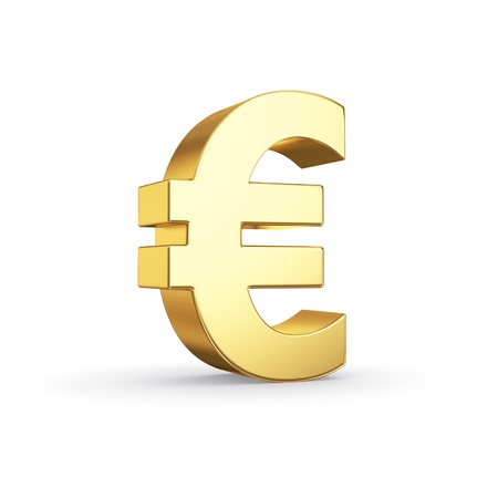 eur: Golden currency symbol isolated on white with clipping path Stock Photo