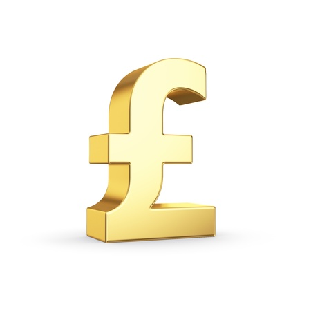 british pound: Golden currency symbol isolated on white with clipping path Stock Photo