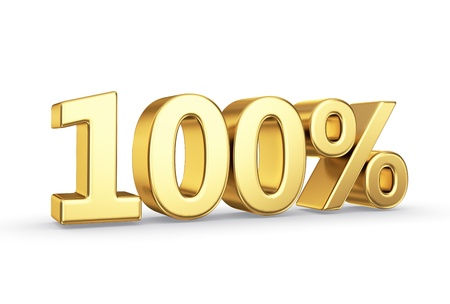 golden 3D percentage icon - isolated with clipping path Stock Photo