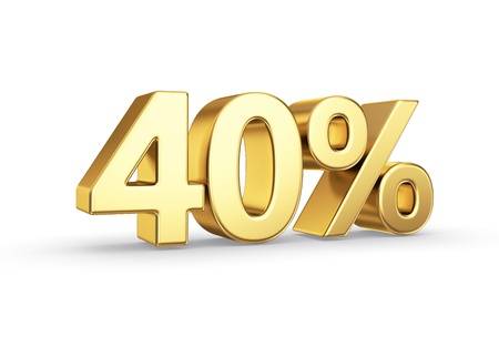 40: golden 3D percentage icon - isolated with clipping path Stock Photo