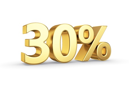 golden 3D percentage icon - isolated with clipping path Фото со стока