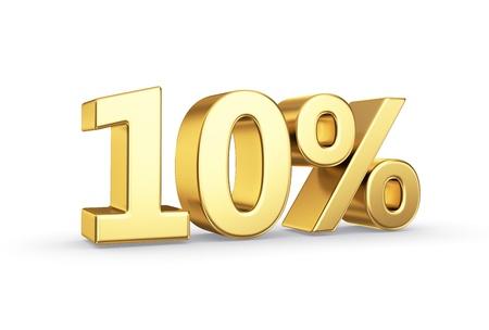 numero diez: golden icono porcentaje 3D - aislada con trazado de recorte