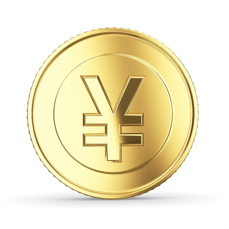 Golden yen coin on white isolated with clipping path photo