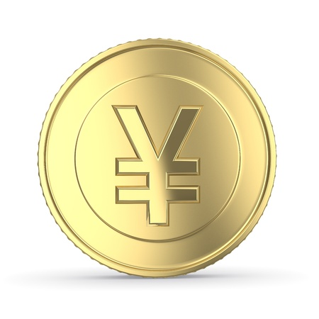 yen sign: Golden yen coin on white isolated with clipping path