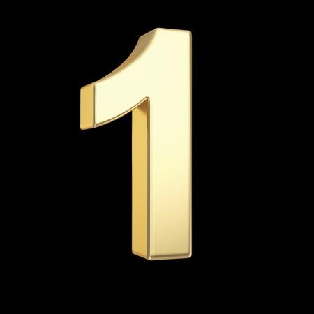 Nummer een - gouden nummer geà ¯ soleerd op zwart met clipping path Stockfoto