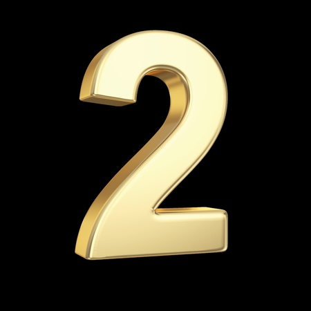 Number two - golden number isolated on black with clipping path Stock Photo - 21092441