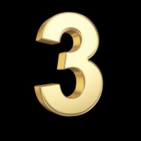 Nummer drie - gouden nummer geà ¯ soleerd op zwart met clipping path Stockfoto
