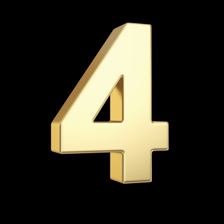 Number four - golden number isolated on black with clipping path