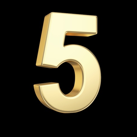 Number five - golden number isolated on black with clipping path Stock Photo - 21092444
