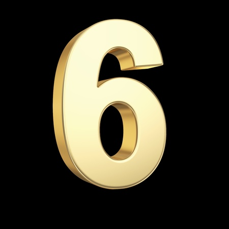 Number six - golden number isolated on black with clipping path Stock Photo