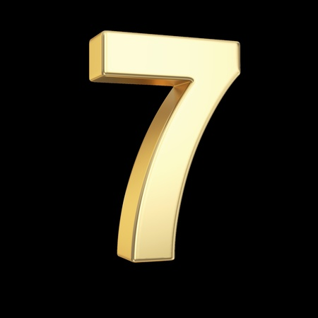 Number seven - golden number isolated on black with clipping path photo