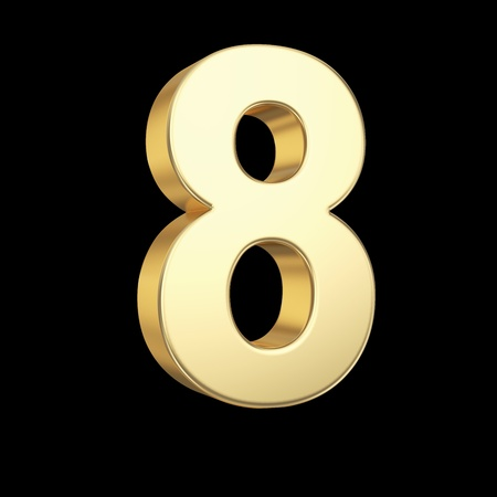 Number eight - golden number isolated on black with clipping path