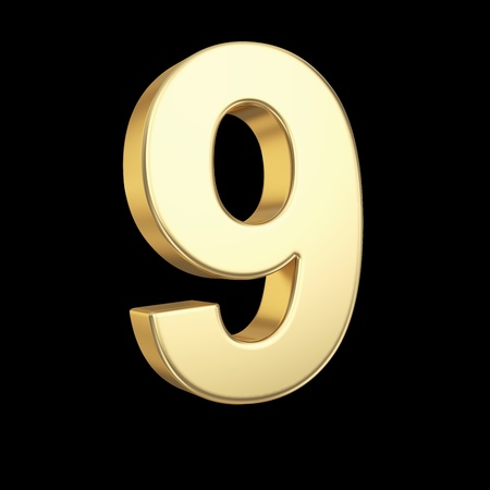 Number nine - golden number isolated on black with clipping path photo
