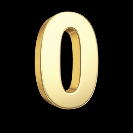 Number zero - - golden number isolated on black with clipping path photo