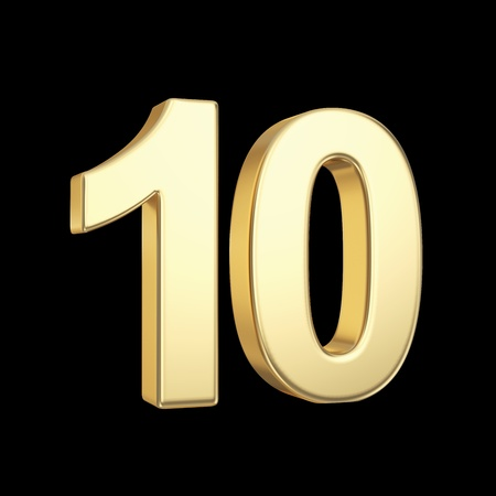 number 10: Number ten - golden number isolated on black with clipping path Stock Photo