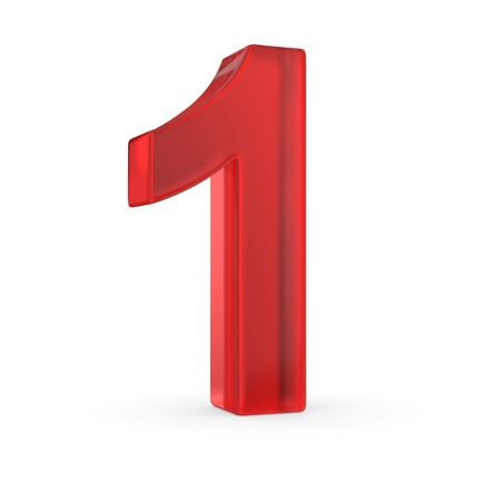 Number one- red isolated with clipping path Stock Photo
