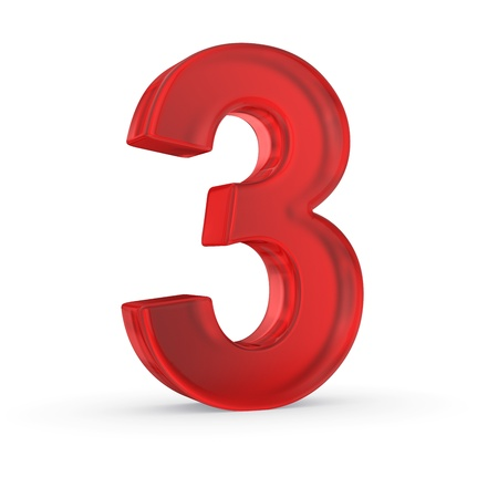 Number three- red isolated with clipping path photo
