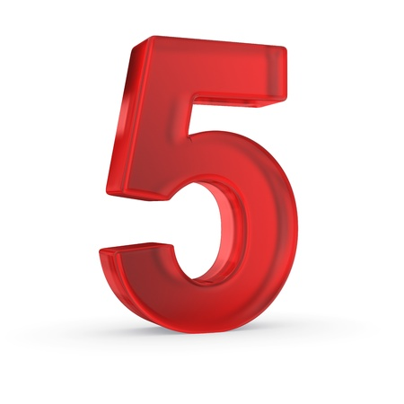 Number five- red isolated with clipping path Stock Photo - 21092455