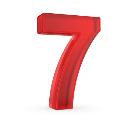 Number seven- red isolated with clipping path photo