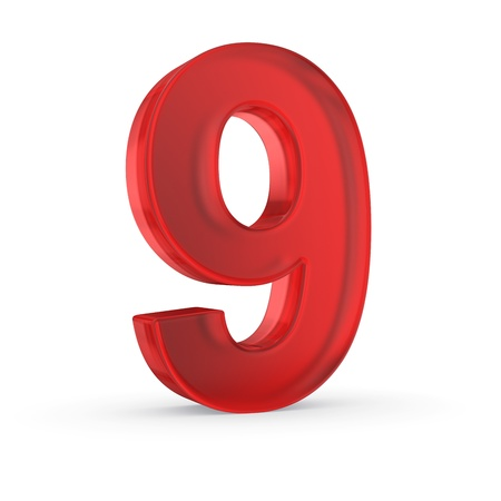 Number nine- red isolated with clipping path Stock Photo - 21092460