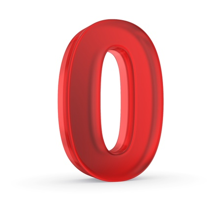 Number zero - red isolated with clipping path Stock Photo
