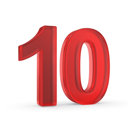 number ten: Number ten - red isolated with clipping path