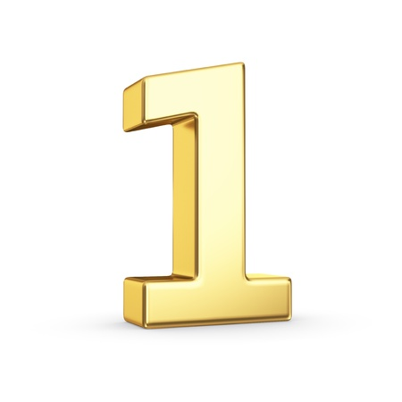 3D golden number 1 - isolated with clipping path
