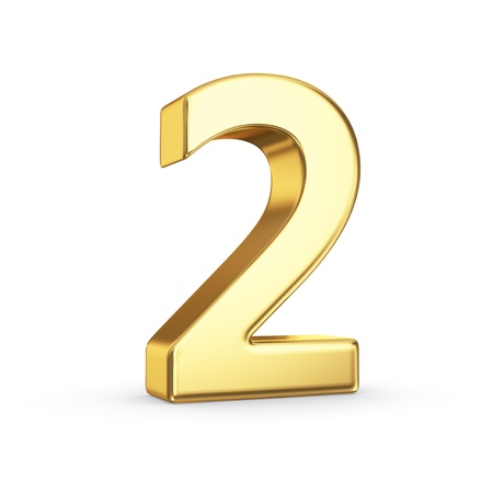 3D golden number 2 - isolated with clipping path