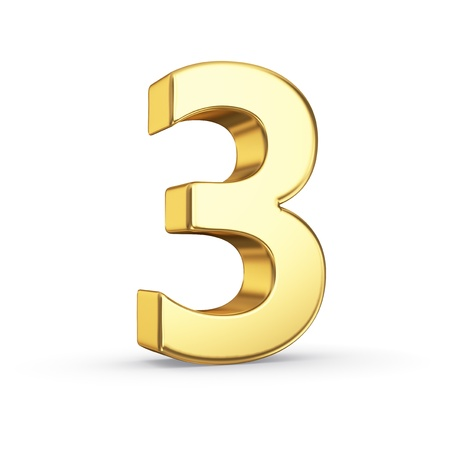 number three: 3D golden number 3 - isolated with clipping path Stock Photo