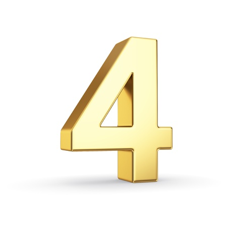 Number 4: 3D golden number 4 - isolated with clipping path