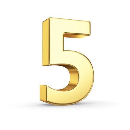 3D golden number 5 - isolated with clipping path Фото со стока