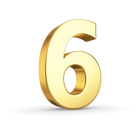 six: 3D golden number 6 - isolated with clipping path