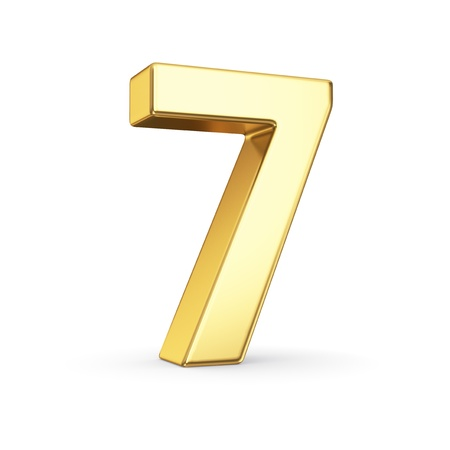 3D golden number 7 - isolated with clipping path