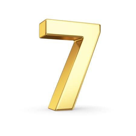3D gouden nummer 7 - geïsoleerd met clipping path Stockfoto