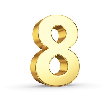 3D gouden nummer 8 - geïsoleerd met het knippen van weg Stockfoto