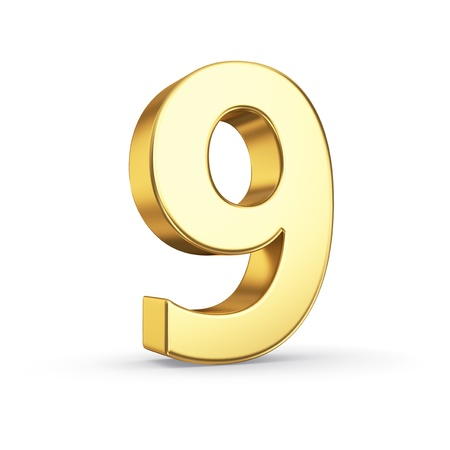 3D gouden nummer 9 - geïsoleerd met clipping path
