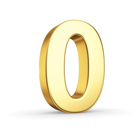 3D golden number 0 - isolated with clipping path