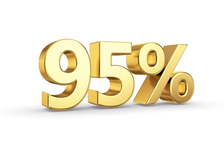 95 golden percent symbol isolated on white with clipping path