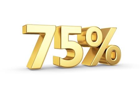 75 gouden procent symbool geïsoleerd op wit met clipping path Stockfoto