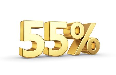 55 gouden percentensymbool dat op wit met het knippen van weg wordt geïsoleerd