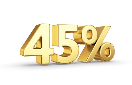 45: 45 percent golden symbol isolated on white with clipping path