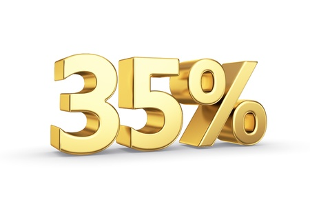 35 golden percent symbol isolated on white with clipping path