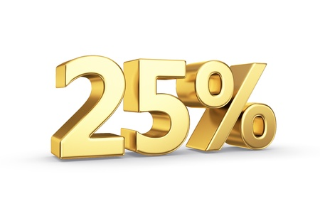 25: 25 golden percent symbol isolated on white with clipping path