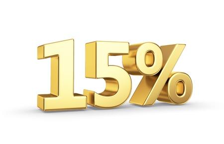 15 gouden procent symbool geïsoleerd op wit met het knippen van weg Stockfoto