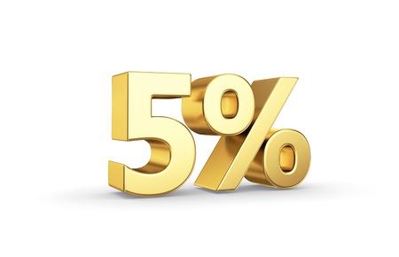 5 gouden procent symbool geïsoleerd op wit met knippen weg Stockfoto