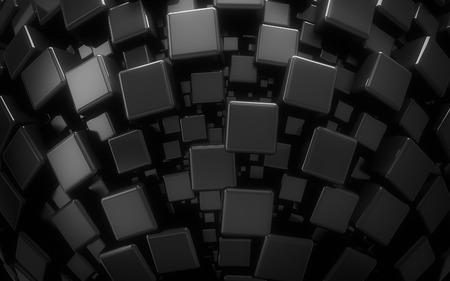 3D geometrische zwarte blokjes achtergrond