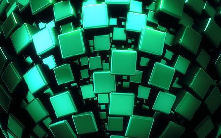 3D geometric green cubes backdrop - computer generated photo